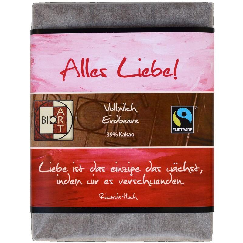 "BioArt Fairtrade Schokolade ""Alles Liebe"" (Vollmilch Erdbeer) 70g"
