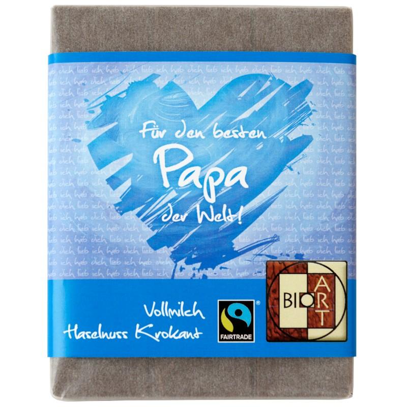 """BioArt Fairtrade Schokolade """"Für den besten Papa"""" (Vollmilch Haselnuss-Krokant) 70g"""