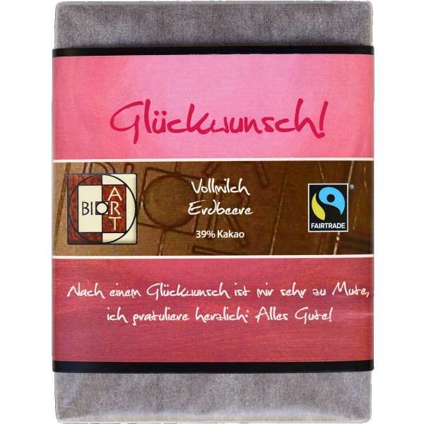 "BioArt Fairtrade Schokolade ""Glückwunsch"" (Vollmilch Erdbeer) 70g"