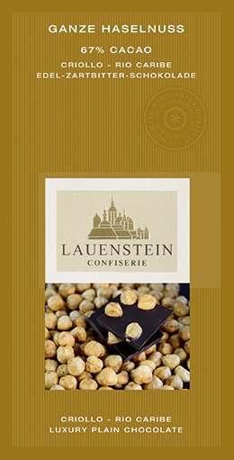 Lauenstein 67% Kakao Ganze Haselnuss 80g Vegan