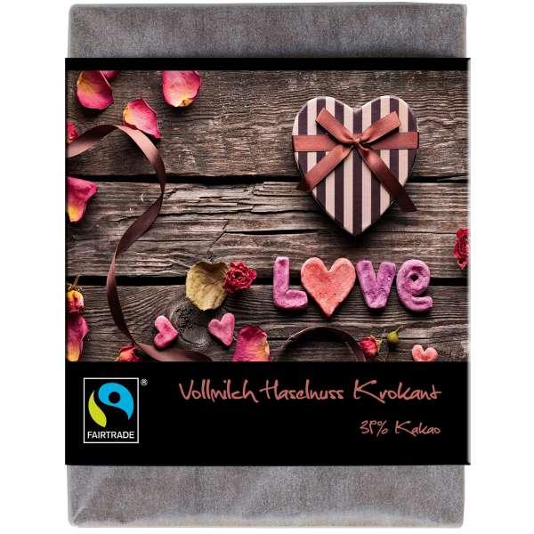 """BioArt Fairtrade Schokolade """"Love"""" (Vollmilch Haselnuss-Krokant) 70g"""