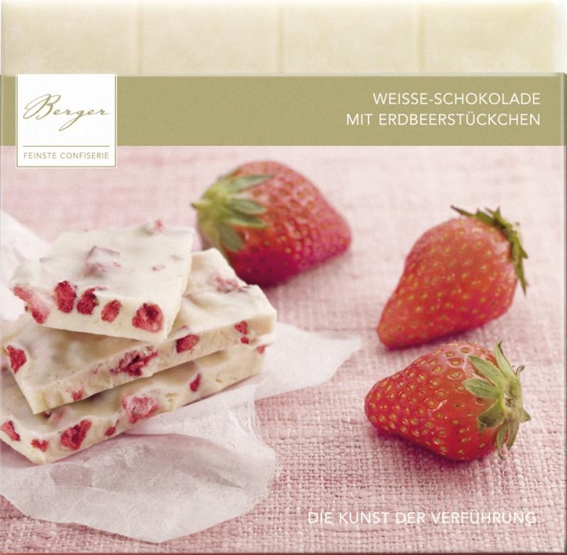 Berger Bio Erdbeerstückchen gefüllte weiße Schokolade 90g