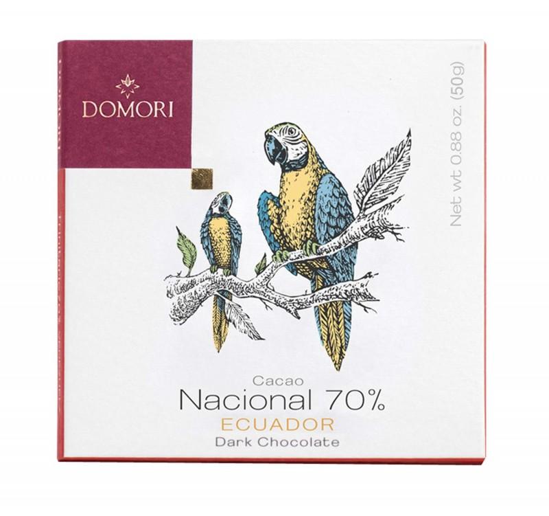 Domori Cacao Nacional 70% Ecuador Zartbitterschokolade 50g Vegan