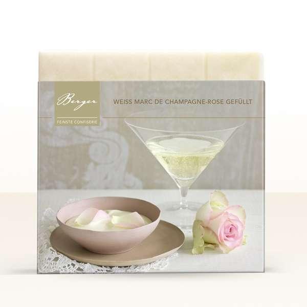 Berger Champagner-Rose gefüllte weiße Schokolade 100g