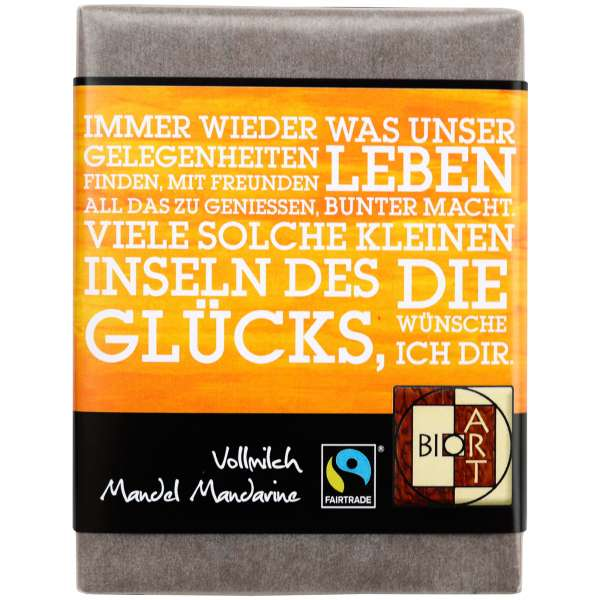 "BioArt Fairtrade Schokolade ""Immer"" (Vollmilch Mandel-Mandarine) 70g"