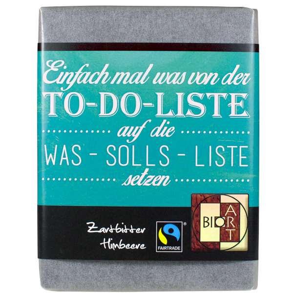 "BioArt Fairtrade Schokolade ""To do Liste"" (Zartbitter Himbeere) 70g"
