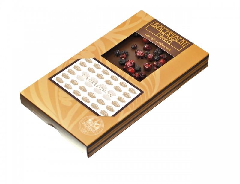 Bachhalm Dankeschön! - Visitenkarte Zartbitter-Schokolade Heidelbeere-Preiselbeere 80g Vegan