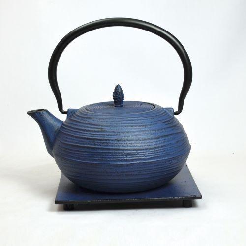 Eisenkanne Mo Yo 1,2l (Blau mit Querstreifen)