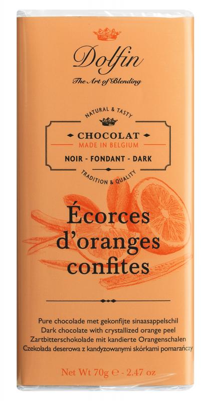 Dolfin Zartbitterschokolade mit kandierten Orangen 70g