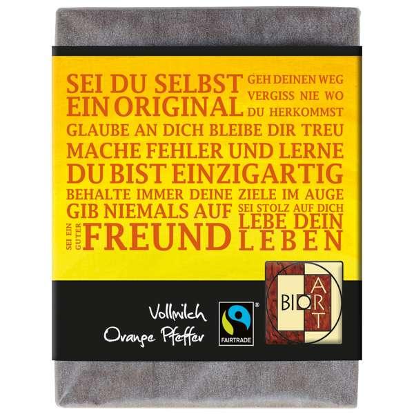 "BioArt Fairtrade Schokolade ""Sei du selbst"" (Vollmilch Orange-Pfeffer) 70g"