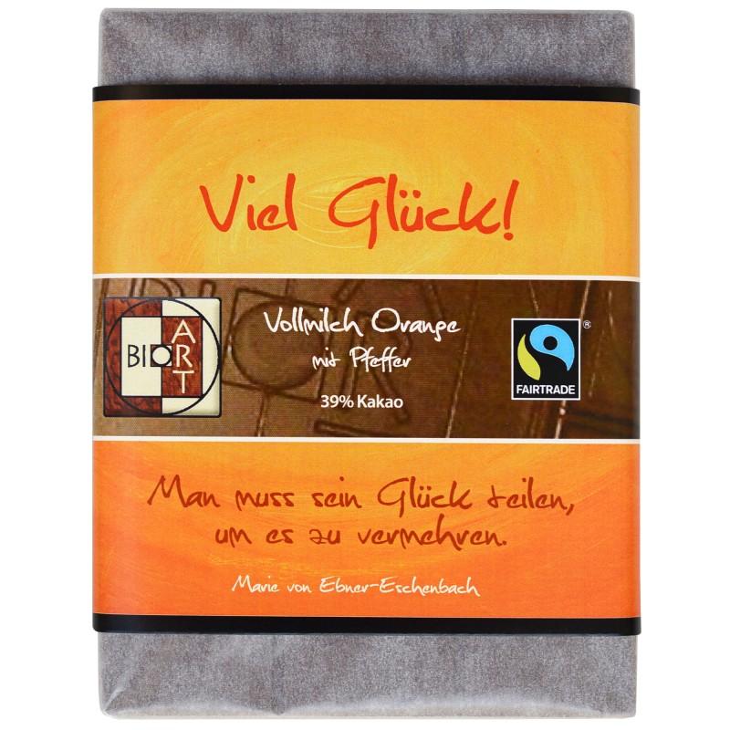 """BioArt Fairtrade Schokolade """"Viel Glück"""" (Vollmilch Orange Pfeffer) 70g"""