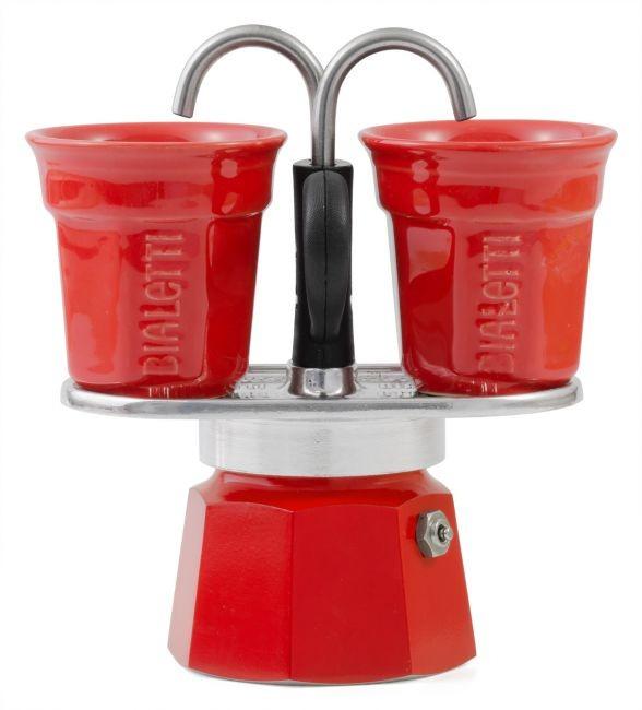 Bialetti Mini Express Set rot mit 2 Tassen