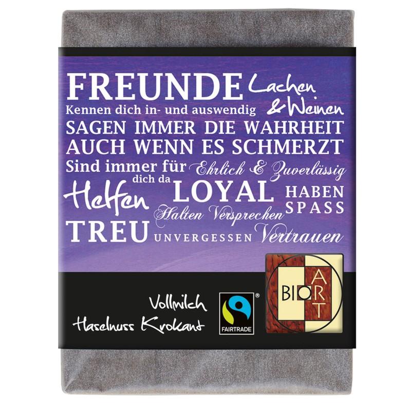 """BioArt Fairtrade Schokolade """"Freunde"""" (Vollmilch Haselnusskrokant) 70g"""