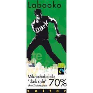 Zotter Labooko Milchschokolade dunkel 70% ohne Zucker 65g