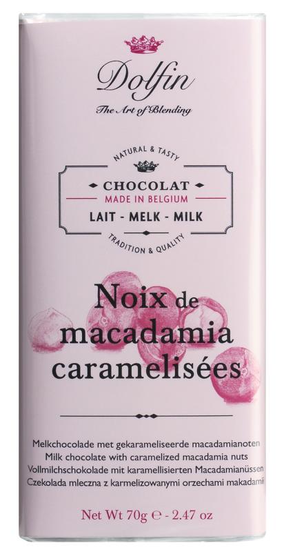 Dolfin Vollmilchschokolade mit karamellisierten Macadamanüssen 70g