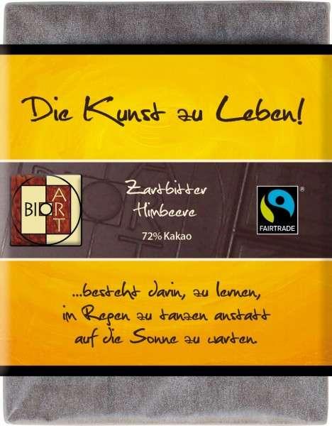 "BioArt Fairtrade Schokolade ""Die Kunst zu leben"" (Zartbitter Himbeere) 70g Vegan"