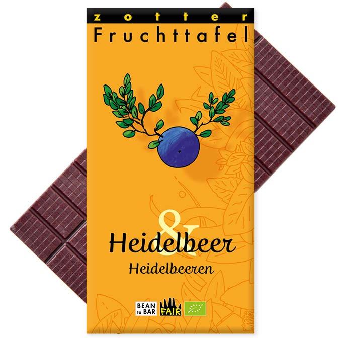 Zotter Fruchttafel Heidelbeer & Heidelbeeren 70g