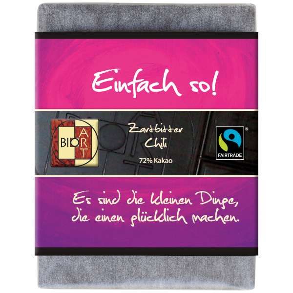 "BioArt Fairtrade Schokolade ""Einfach so"" (Zartbitter Chili) 70g Vegan"