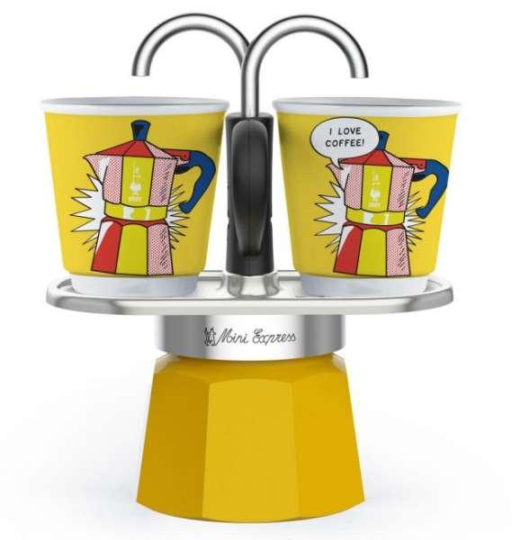 Bialetti Mini Express Set Lichtenstein mit 2 Tassen