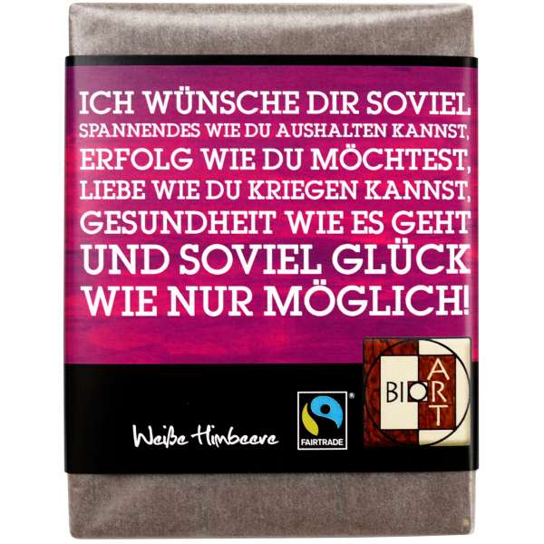 "BioArt Fairtrade Schokolade ""Wünsche"" (Weiße Himbeere) 70g"