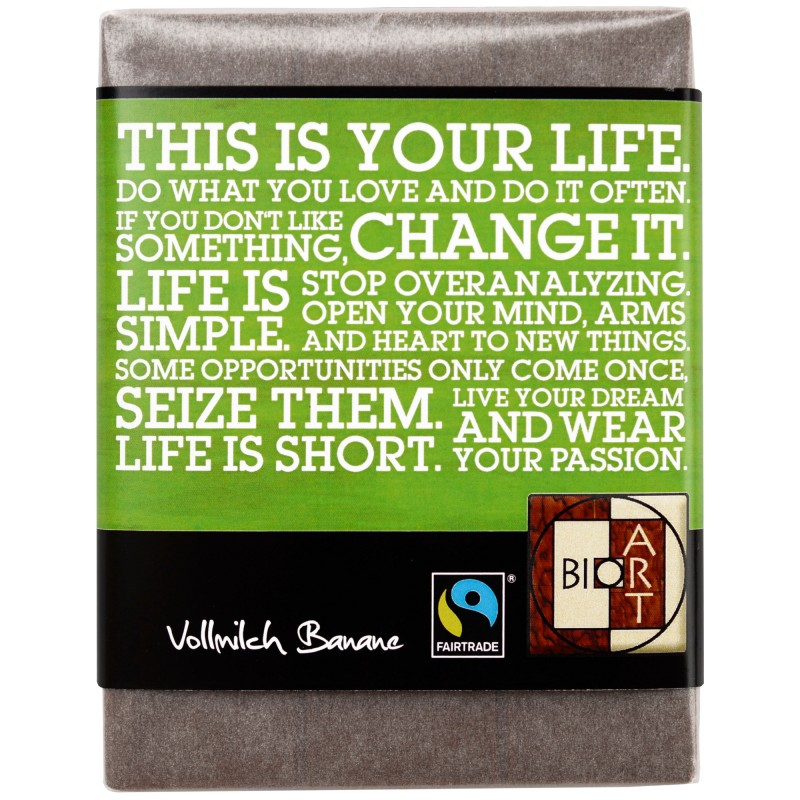 "BioArt Fairtrade Schokolade ""Life"" (Vollmilch Banane) 70g"
