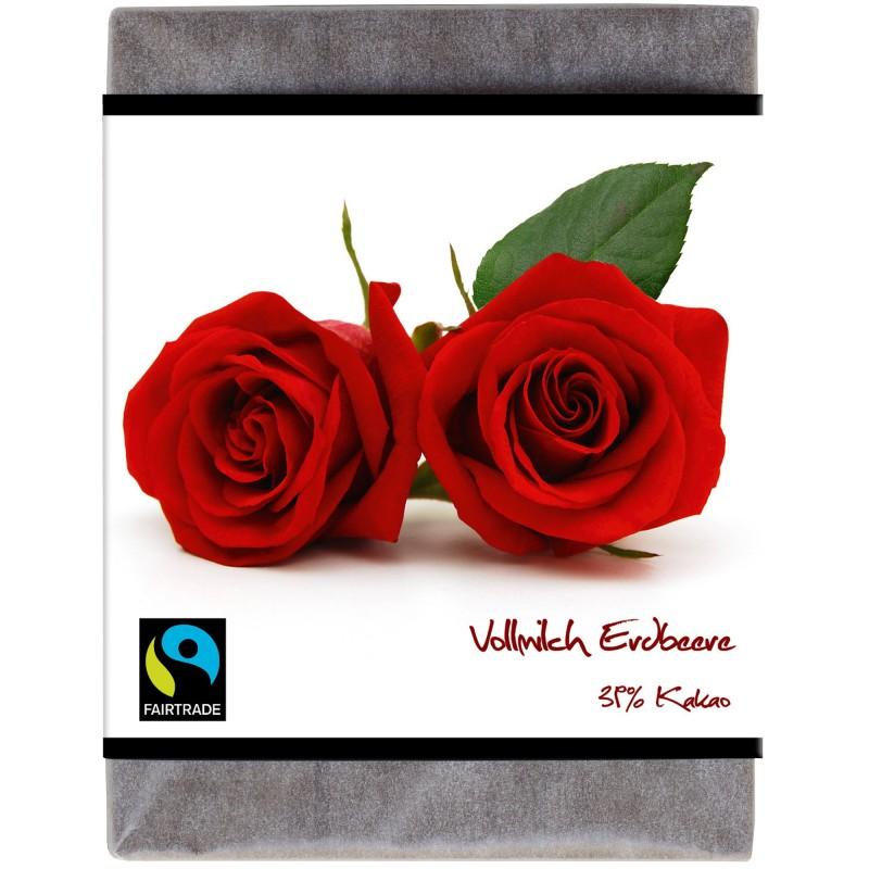"""BioArt Fairtrade Schokolade """"Rose"""" (Vollmilch Erdbeere) 70g"""