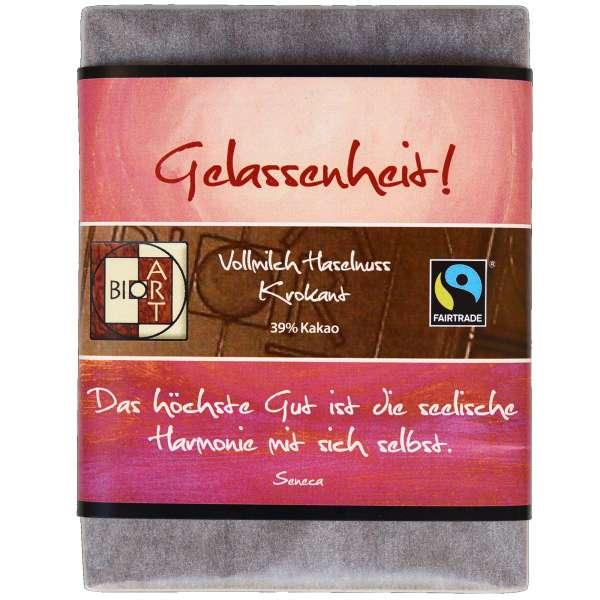 """BioArt Fairtrade Schokolade """"Gelassenheit"""" (Vollmilch Haselnuss-Krokant) 70g"""
