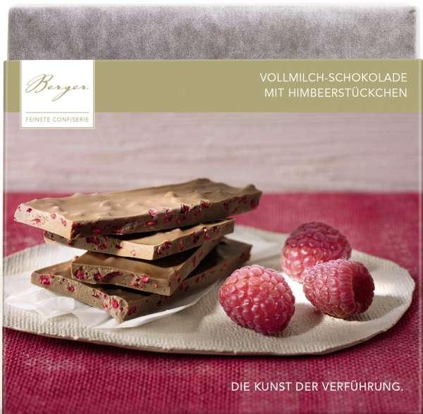 Berger Bio Himbeerstückchen gefüllte Vollmilchschokolade 90g