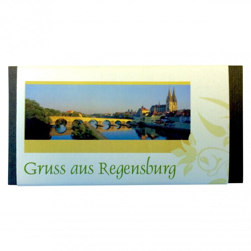 Hornung Vollmilchschokolade Gruss aus Regensburg Tagansicht 100g