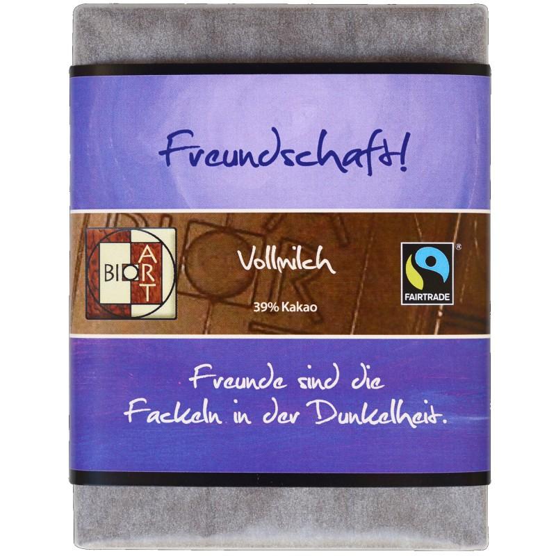 """BioArt Fairtrade Schokolade """"Freundschaft"""" (Vollmilch) 70g"""