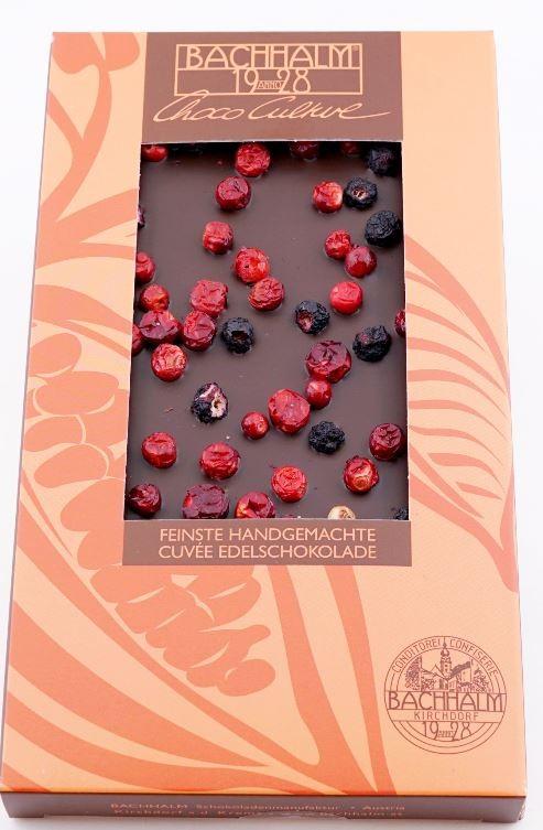 Bachhalm Heidelbeere Preiselbeere Zartbitterschokolade 80g Vegan
