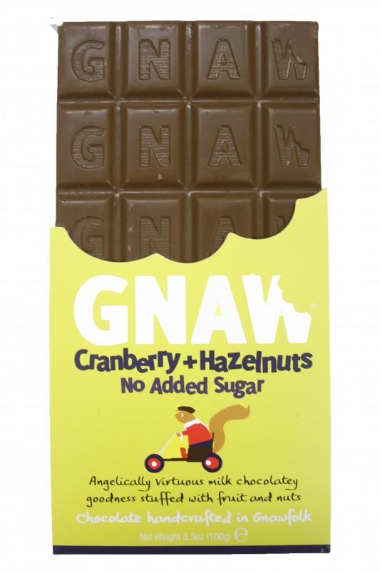 GNAW Schokolade No Added Sugar Cranberry & Hazelnut 100g