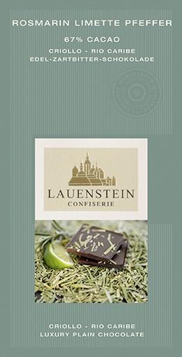 Lauenstein 67% Kakao Rosmarin Limette Pfeffer 80g Vegan