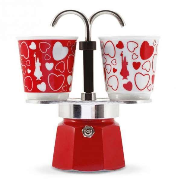 Bialetti Mini Express Set Rot mit 2 Tassen Cuore Herzen