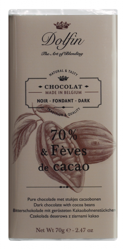 Dolfin Zartbitterschokolade mit Kakaosplittern 70g