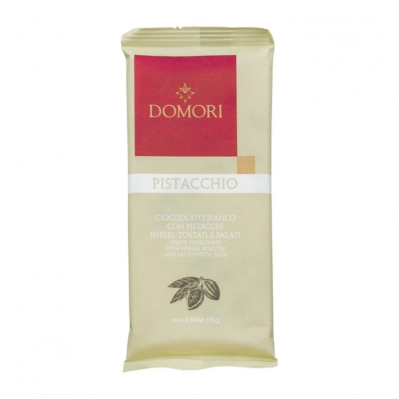 Domori Pistacchio Weiße Schokolade mit ganzen Pistazien 75g