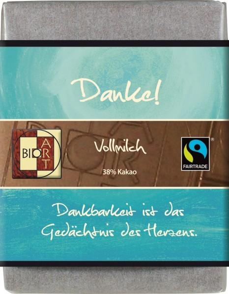 "BioArt Fairtrade Schokolade ""Danke"" (Vollmilch) 70g"