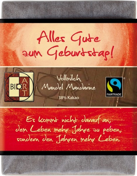"""BioArt Fairtrade Schokolade """"Alles gute zum Geburtstag"""" (Vollmilch Mandel Mandarine) 70g"""