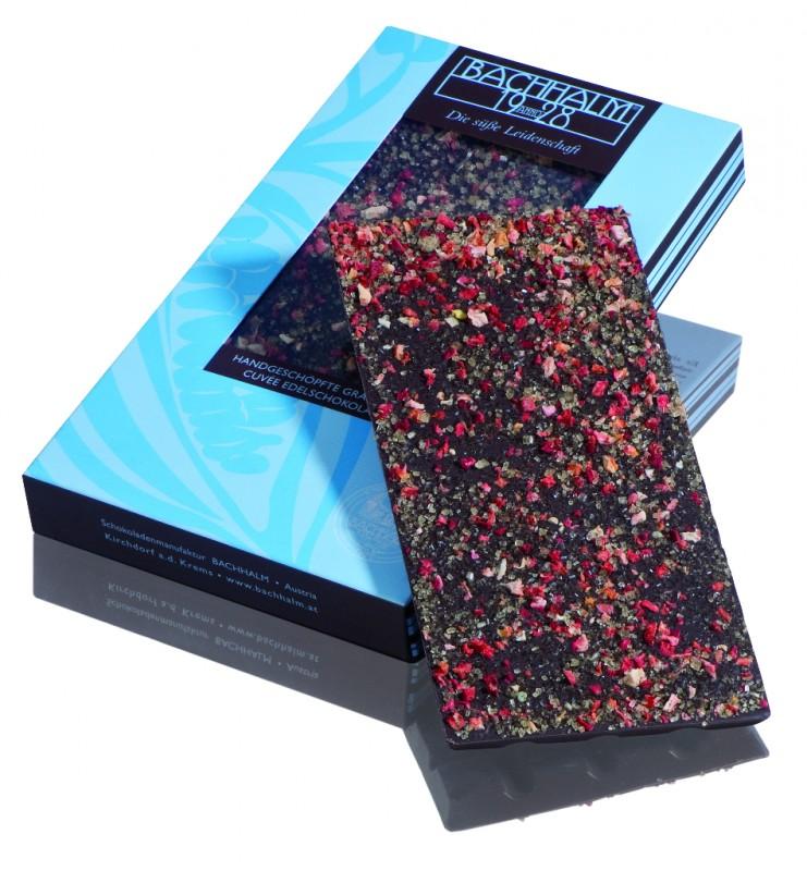 Bachhalm Erdbeer-Chili Grüner Pfeffer Zartbitter Cuvee Edelschokolade 85g Vegan